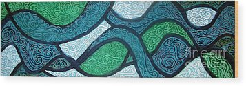 Aqua Motion Wood Print by Genevieve Esson