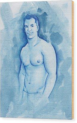 Aqua Wood Print by Rudy Nagel