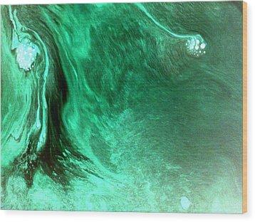 Wood Print featuring the mixed media Aqua Tree by Salman Ravish