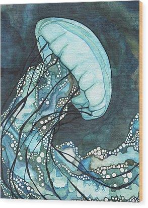 Aqua Sea Nettle Wood Print