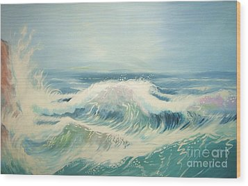 Aqua Sea Scape Wood Print