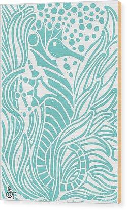 Aqua Seahorse Wood Print