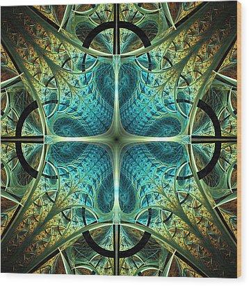 Aqua Shield Wood Print by Anastasiya Malakhova