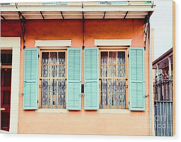 Wood Print featuring the photograph Aqua Shutters by Sylvia Cook