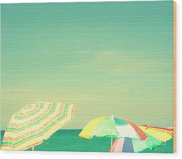 Aqua Sky With Umbrellas Wood Print by Valerie Reeves