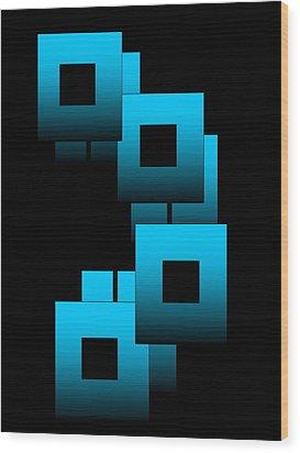 Aqua Squares Wood Print by Gayle Price Thomas