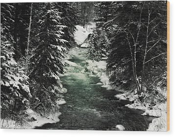Aqua Stream Wood Print by Michele Richter