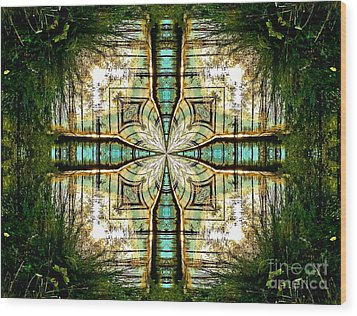 Kaleidoscope Aqua Sunrise Wood Print by Julia Hassett