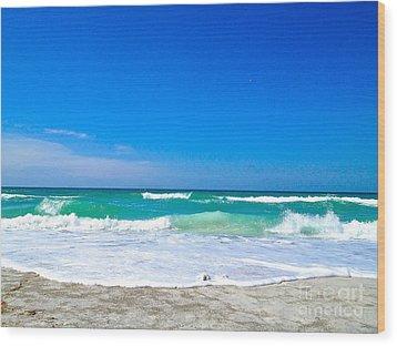 Aqua Surf Wood Print by Margie Amberge