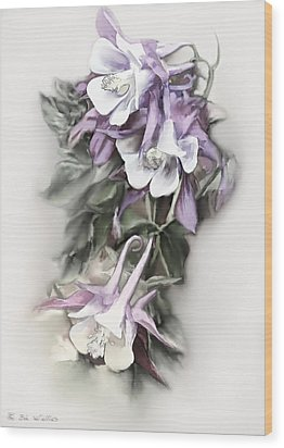 Aqualigia Cascade Wood Print by Bonnie Willis