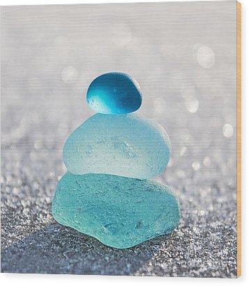 Aquamarine Ice Light Wood Print