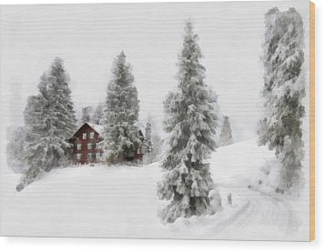 Aquarell - Beautiful Winter Landscape With Trees And House Wood Print by Matthias Hauser