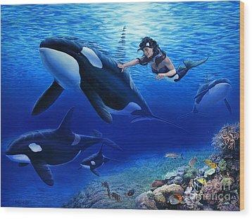 Aquaria's Orcas Wood Print by Stu Shepherd