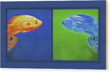 Aquarium Art Diptych Wood Print by Steve Ohlsen