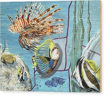 Wood Print featuring the painting Aquarium by Daniel Janda