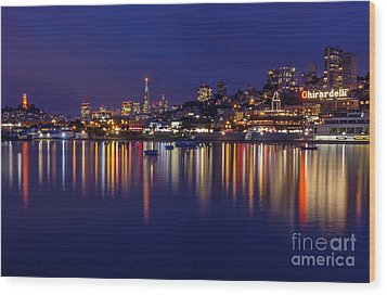 Aquatic Park Blue Hour Wide View Wood Print by Kate Brown