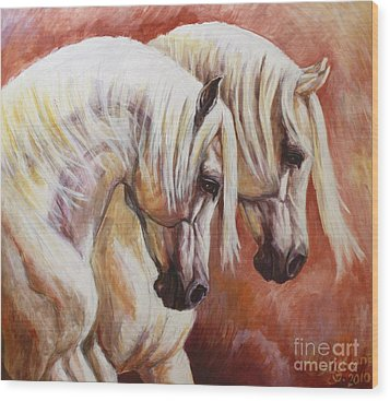 Arab Horses Wood Print by Silvana Gabudean Dobre