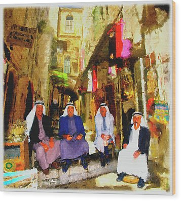 Wood Print featuring the painting Arab Merchants Of Jerusleum by Ted Azriel