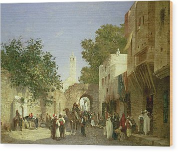 Arab Street Scene Wood Print by Honore Boze