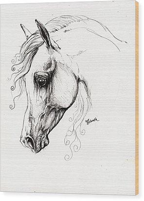 Arabian Horse Drawing 15 Wood Print by Angel  Tarantella