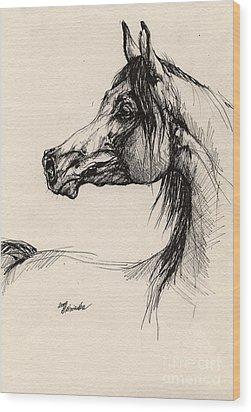 Arabian Horse Drawing 26 Wood Print by Angel  Tarantella
