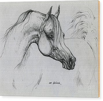 Arabian Horse Drawing 28 Wood Print by Angel  Tarantella