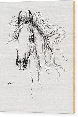 Arabian Horse Drawing 4 Wood Print by Angel  Tarantella