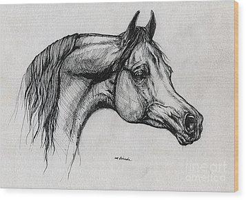 Arabian Horse Drawing 40 Wood Print by Angel  Tarantella