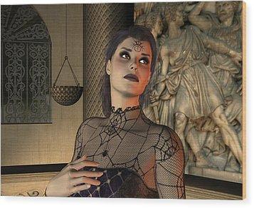 Wood Print featuring the digital art Arachna by Jayne Wilson