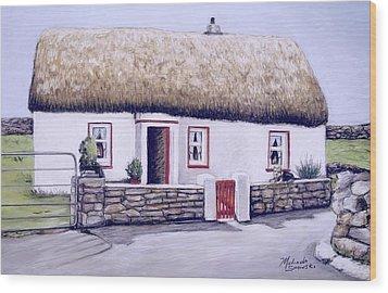Aran Island Thatched Roof Cottage  Wood Print by Melinda Saminski