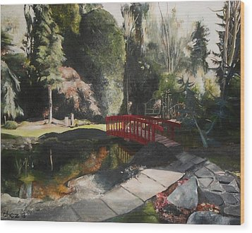 Wood Print featuring the painting Arbour Bridge by Cherise Foster