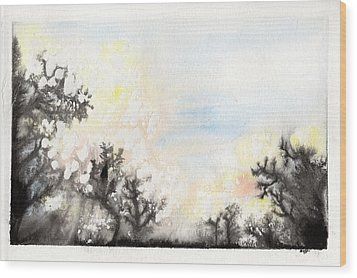 Wood Print featuring the painting Arbres En Feu by Marc Philippe Joly