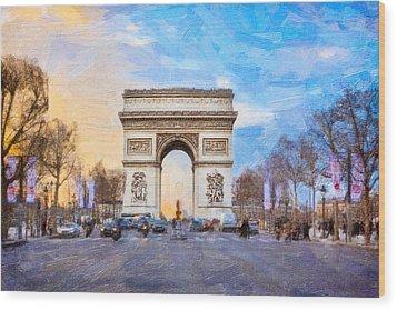 Arc De Triomphe - A Paris Landmark Wood Print by Mark E Tisdale