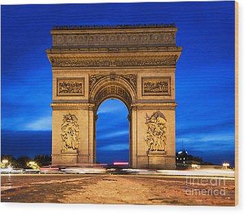 Arc De Triomphe At Night Paris France  Wood Print