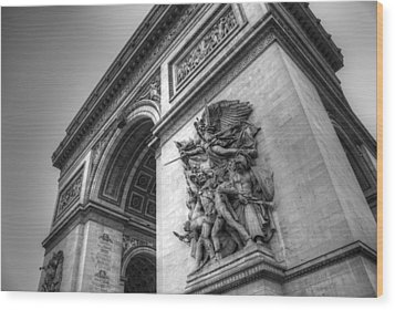 Arc De Triomphe In Black And White Wood Print by Jennifer Ancker