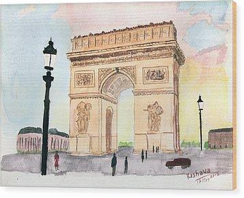 Arc De Triomphe Wood Print by Keshava Shukla