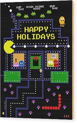 Arcade Holiday Wood Print