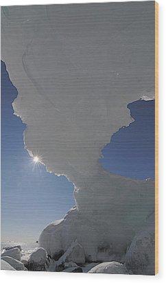 Arch Of Ice Wood Print by Sandra Updyke
