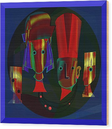 Archaic Heads - 837 Wood Print by Irmgard Schoendorf Welch