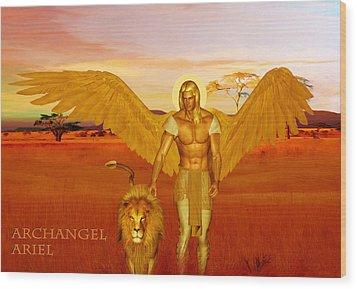 Archangel Ariel Wood Print by Valerie Anne Kelly