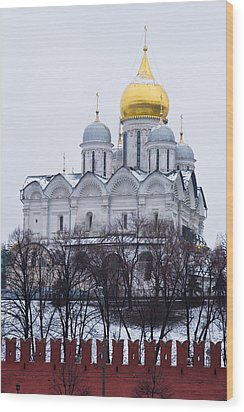 Archangel Cathedral Of Moscow Kremlin - Featured 3 Wood Print by Alexander Senin