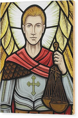 Wood Print featuring the glass art Archangel Michael Detail by Gilroy Stained Glass