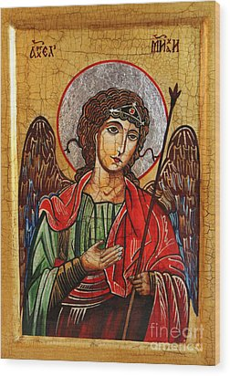 Archangel Michael Icon Wood Print by Ryszard Sleczka