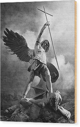 Archangel Michael Wood Print by Marc Huebner
