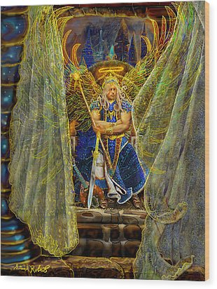 Wood Print featuring the painting Archangel Michael-angel Tarot Card by Steve Roberts