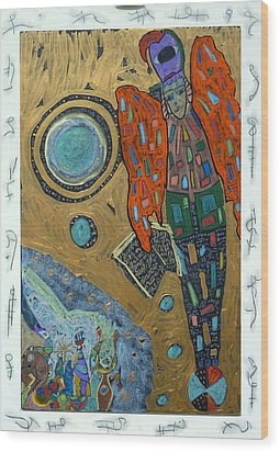 Wood Print featuring the mixed media Archangel Raguel by Clarity Artists