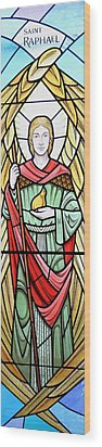 Wood Print featuring the glass art Archangel Raphael by Gilroy Stained Glass