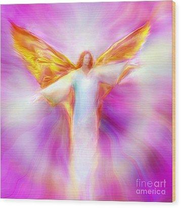 Archangel Sandalphon In Flight Wood Print by Glenyss Bourne