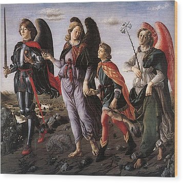 Archangels With Tobias Wood Print by Renaissance Master
