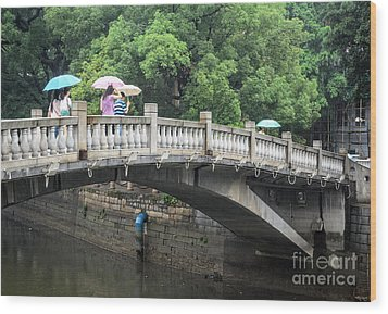 Arched Chinese Bridge With Umbrellas - Shamian Island - Guangzhou - Canton - China Wood Print by David Hill